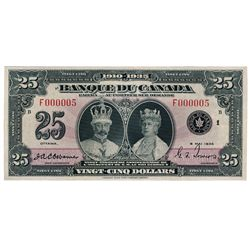 BANK OF CANADA. $25.00. 1935 Issue. French Text. BC-12. No. F000005/B. Unlisted in the C.P.M.S. Regi