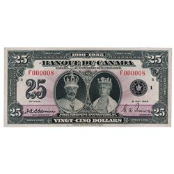 BANK OF CANADA. $25.00. 1935 Issue. French Text. BC-12. No. F000008/B. Unlisted in the C.P.M.S. Regi