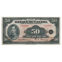 BANK OF CANADA. $50.00. 1935 Issue. French Text. BC-14. No. F03994/C. Almost Unc. A counting crease
