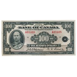 BANK OF CANADA. $100.00. 1935 Issue. English Text. BC-15. No. A03408/D. Unlisted in the C.P.M.S. Reg