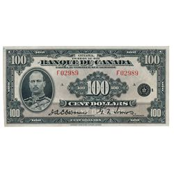 BANK OF CANADA. $100.00. 1935 Issue. French Text. BC-16. No. F02989/A. A rare choice AU note, only a