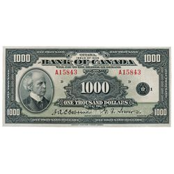 BANK OF CANADA. $1000.00. 1935 Issue. English Text. BC-19. No. A15843/B. Unlisted in the C.P.M.S. Re