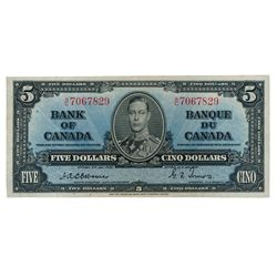 BANK OF CANADA. $5.00. 1937 Issue. BC-23a. No. A/C7067829. Osborne-Towers. A bright AU.