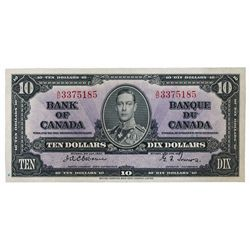 BANK OF CANADA. $10.00. 1937 Issue. BC-24a. No. A/D3375185. Osborne-Towers. A well centered Unc.