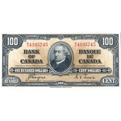 BANK OF CANADA. $100.00. 1937 Issue. BC-27c. No. B/J4495745. Coyne-Towers. Well centered. Choice Unc