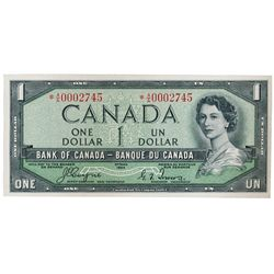 BANK OF CANADA. $1.00. 1954 Issue. BC-29aA. No. *A/A0002745. Coyne-Towers. 'Devil's Face'. From the