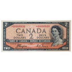 BANK OF CANADA. $2.00. 1954 Issue. BC-30aA. No. *A/B0000830. Coyne-Towers. Devil's Face'. Minor corn