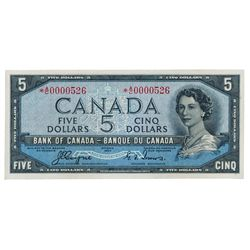 BANK OF CANADA. $5.00. 1954 Issue. BC-31aA. No. *A/C0000526. Coyne-Towers. Devil's Face'. Unlisted i