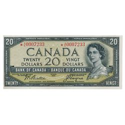 BANK OF CANADA. $20.00. 1954 Issue. BC-33bA. No. *A/E0007233. Beattie-Coyne. Devil's Face'. Close cu