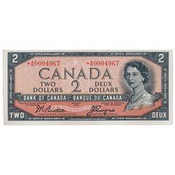 BANK OF CANADA. $2.00. 1954 Issue. BC-30bA. No. *A/B0004967. Beattie-Coyne. Devil's Face'. Choice Un