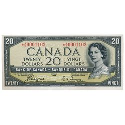BANK OF CANADA. $20.00. 1954 Issue. BC-33aA. No. *A/E0001162. Beattie-Coyne. Devil's Face'. Unlisted