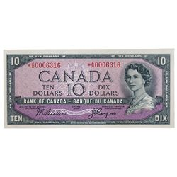 BANK OF CANADA. $10.00. 1954 Issue. BC-32bA. No. *A/D0006316. Beattie-Coyne. Devil's Face'. A choice