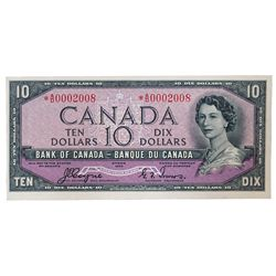 BANK OF CANADA. $10.00. 1954 Issue. BC-32aA. No. *A/D0002008. Coyne-Towers. Devil's Face'. Unlisted
