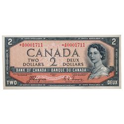 BANK OF CANADA. $2.00. 1954 Issue. BC-30aA. No. *A/B0001711. Coyne-Towers. Devil's Face'. From Charl
