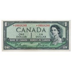 BANK OF CANADA. $1.00. 1954 Issue. BC-29bA. No. *A/A0018280. Beattie-Coyne. Devil's Face'. Unlisted