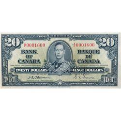 BANK OF CANADA. $20.00. 1937 Issue. BC-25a. No. A/E0001600. Osborne-Towers. Choice AU.