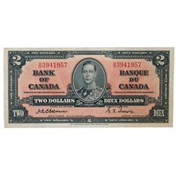 BANK OF CANADA. $2.00. 1937 Issue. BC-22a. No. A/B3941957. Osborne-Towers. A choice uncirculated exa