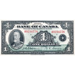 BANK OF CANADA. $1.00. 1935 Issue. English Text. BC-1. No. A9234778/A. Extra Fine-40.