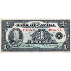 BANK OF CANADA. $1.00. 1935 Issue. English Text. BC-1. No. B0552735/D. PCGS graded Very Fine-30.