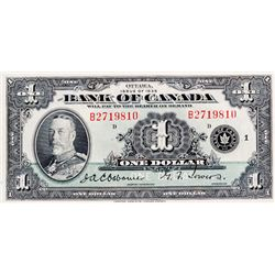 BANK OF CANADA. $1.00. 1935 Issue. English Text. BC-1. No. B2719810/D. BCS graded Very Fine-25.