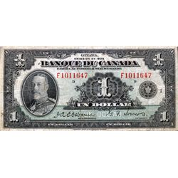 BANK OF CANADA. $1.00. 1935 Issue. English Text. BC-1. No. A8995076/A. BCS graded Very Fine-25.