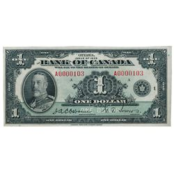 BANK OF CANADA. $1.00, $2.00, $5.00. BC-1, BC-3, BC-5. 1935 Issue. English Text. All three (3) with