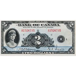 BANK OF CANADA. $2.00. 1935 Issue. English Text. BC-3. No. A1526735/C. BCS graded Extra Fine-40. (tr