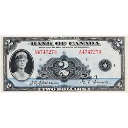 BANK OF CANADA. $2.00. 1935 Issue. English Text. BC-3. No. A4747273/C. BCS graded Very Fine-20.
