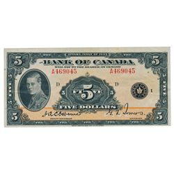 BANK OF CANADA. $5.00. 1935 Issue. English Text. BC-5. No. A469045/D. PMG graded AU-53. EPQ.