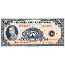 BANK OF CANADA. $5.00. 1935 Issue. English Text. BC-5. No. A1466307/D. BCS graded Very Fine-30.