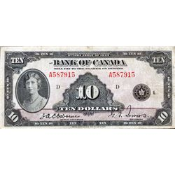 BANK OF CANADA. $10.00. 1935 Issue. English Text. BC-7. No. A587915/D. PMG graded Very Fine-20.
