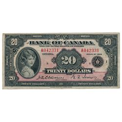 BANK OF CANADA. $20.00. 1935 Issue. English Text. BC-9a. No. A042331/B. Large Seal. PMG graded Very
