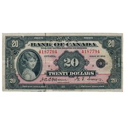 BANK OF CANADA. $20.00. 1935 Issue. English Text. BC-9b. No. A187794/D. Small Seal. PMG graded Very