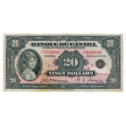 BANK OF CANADA. $20.00. 1935 Issue. French Text. BC-10. No. F010866/C. A bright Fine+.