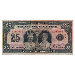BANK OF CANADA. $25.00. 1935 Issue. English Text. BC-11. No. A000004/A. PMG graded VG-10. Net. Desig