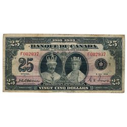 BANK OF CANADA. $25.00. 1935 Issue. French Text. BC-12. No. F002937/c. PMG graded Fine-15. Net. Desi