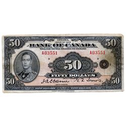 BANK OF CANADA. $50.00. 1935 Issue. English Text. BC-13. No. A03551/D. PMG graded Very Fine-20.