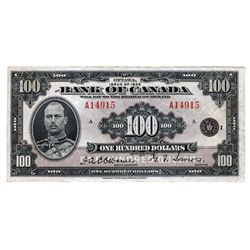 BANK OF CANADA. $100.00. 1935 Issue. English Text. BC-15. No. A14915/A. PMG graded Extra Fine-45. A