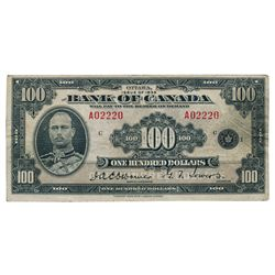 BANK OF CANADA. $100.00. 1935 Issue. English Text. BC-15. No. A02220/c. PMG graded Very Fine-25.