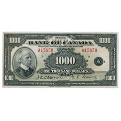BANK OF CANADA. $1000.00. 1935 Issue. English Text. BC-19. No. A15850/D. Choice and crisp AU.