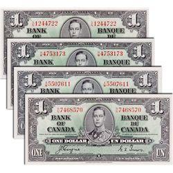 BANK OF CANADA. $1.00. 1937 Issue. BC-21c. No. H/M4753173. BCS EF-45, (original); BC-21d. No. X/M550