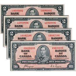 BANK OF CANADA. $2.00. BC-22b. No. K/B4686092. BCS graded AU-58, (trimmed); No. L/B1910896. BCS AU-5