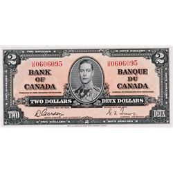 BANK OF CANADA. $2.00. 1937 Issue. BC-22b. Gordon- Towers. No. U/B0606095. BCS graded Unc-60, (origi