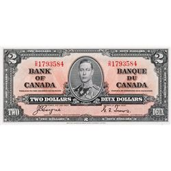BANK OF CANADA. $2.00. 1937 Issue. BC-22c. Coyne-Towers. No. D/R1793584. BCS graded Choice Unc-63, (