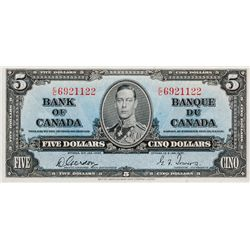 BANK OF CANADA. $5.00. 1937 Issue. BC-23b. Gordon- Towers. No. E/C6921122. BCS graded AU-58, (origin