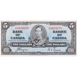 BANK OF CANADA. $5.00. 1937 Issue. BC-23c. Coyne-Towers. No. H/S3433078. BCS graded Unc-60, (origina