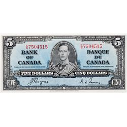 BANK OF CANADA. $5.00. 1937 Issue. BC-23c. Coyne-Towers. No. E/S7504515. BCS graded AU-58, (original