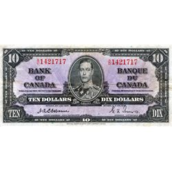 BANK OF CANADA. $10.00. 1937 Issue. BC-24a. Osborne- Towers. No. A/D1421717. PCGS graded Very Fine-2