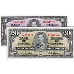 BANK OF CANADA. $10.00. 1937 Issue. BC-24c. Coyne-Towers. No. K/T8054769. BCS graded AU-50, (origina