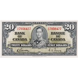 BANK OF CANADA. $20.00. 1937 Issue. BC-25b. Gordon- Towers. No. D/E7056477. BCS graded Almost Unc-50